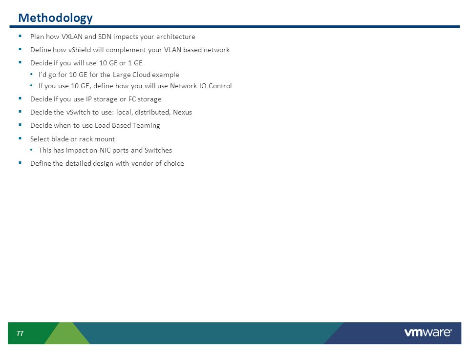 Methodology Plan how VXLAN and SDN impacts your architecture
