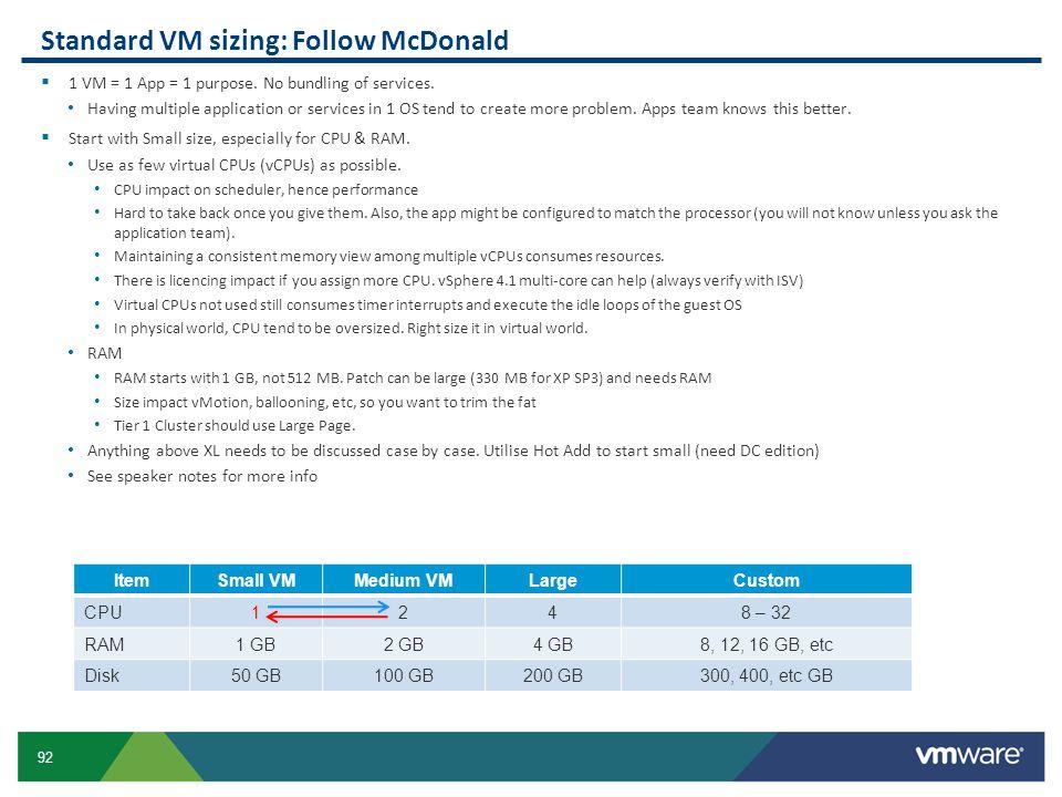 Standard VM sizing: Follow McDonald