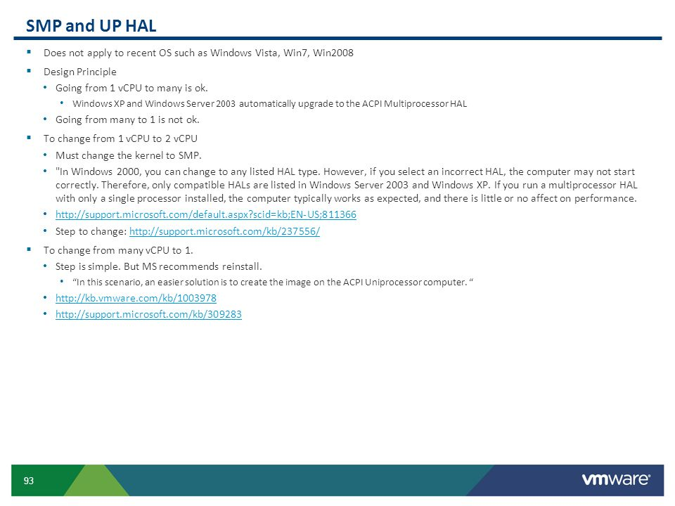 SMP and UP HAL Does not apply to recent OS such as Windows Vista, Win7, Win2008. Design Principle.