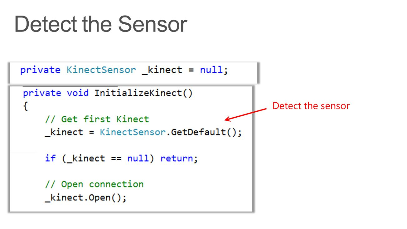 Detect the Sensor Detect the sensor