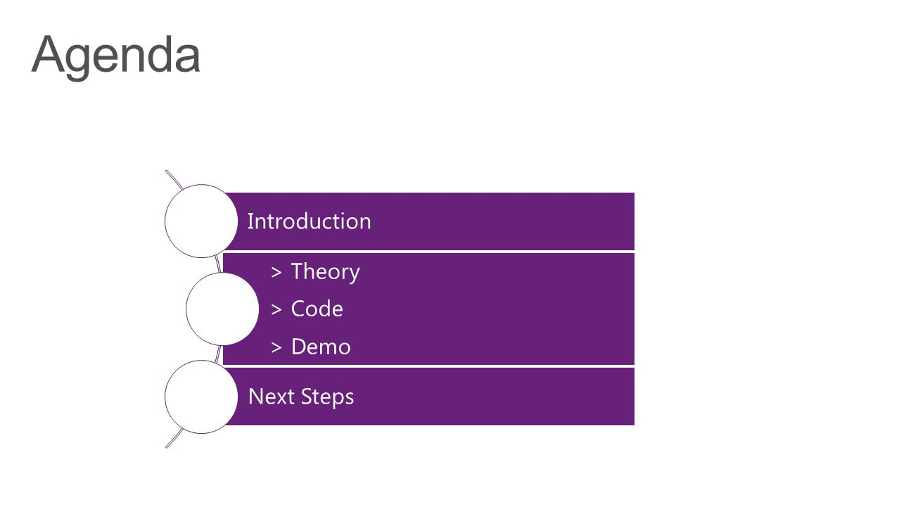 Agenda Introduction > Theory > Code > Demo Next Steps Agenda