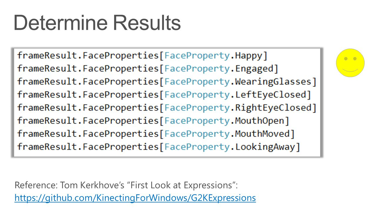 Determine Results Reference: Tom Kerkhove's First Look at Expressions : https://github.com/KinectingForWindows/G2KExpressions.