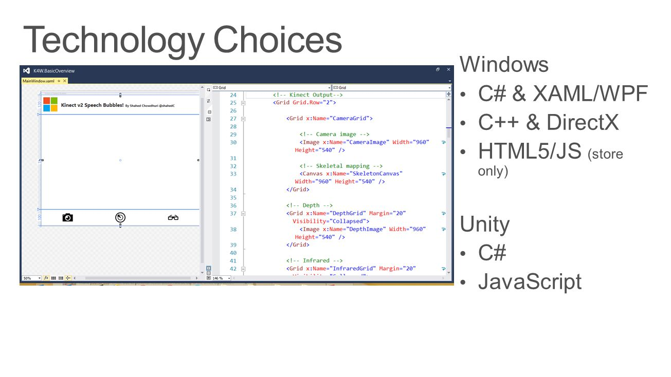 Technology Choices Windows C# & XAML/WPF C++ & DirectX