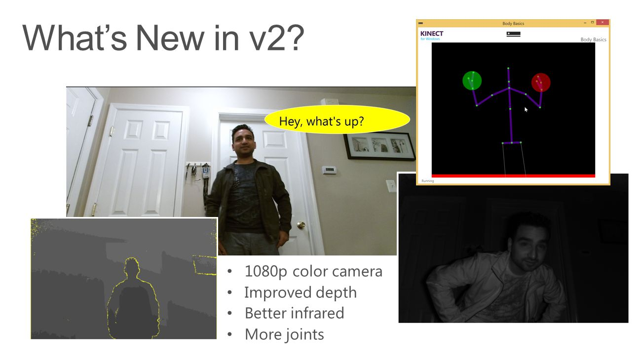 What's New in v2 1080p color camera Improved depth Better infrared