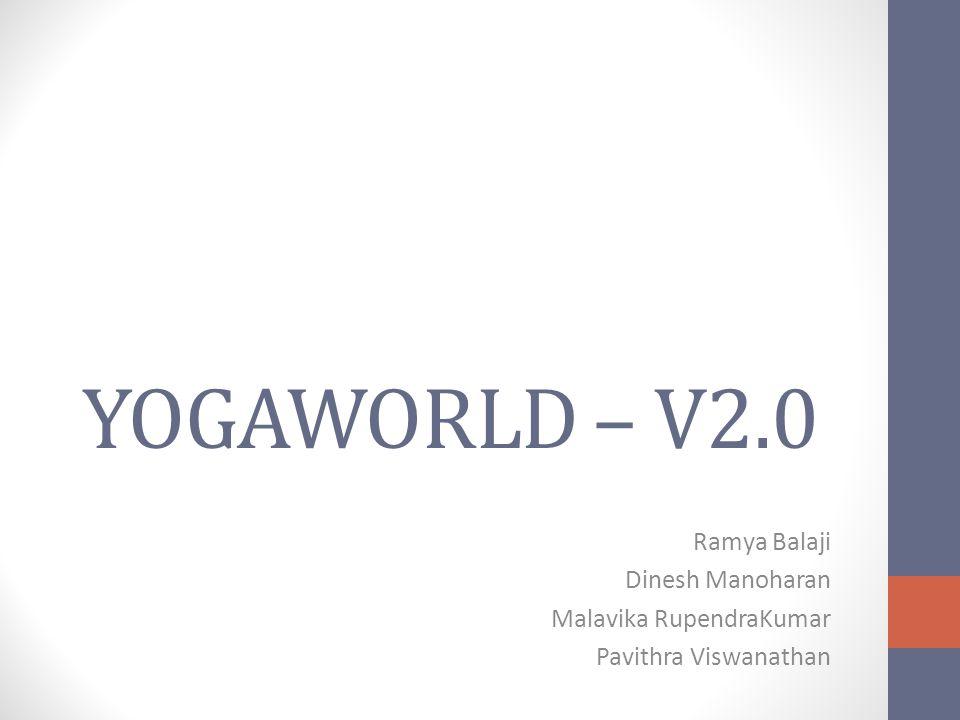 YOGAWORLD – V2.0 Ramya Balaji Dinesh Manoharan Malavika RupendraKumar