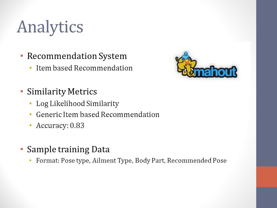 Analytics Recommendation System Similarity Metrics