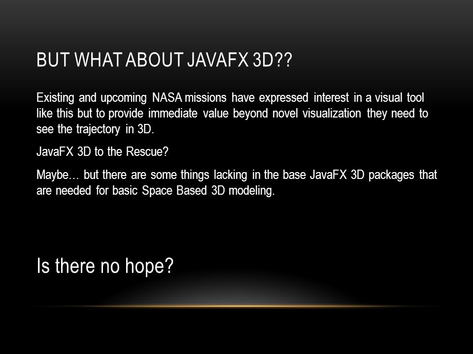 Is there no hope But what about JavaFX 3D