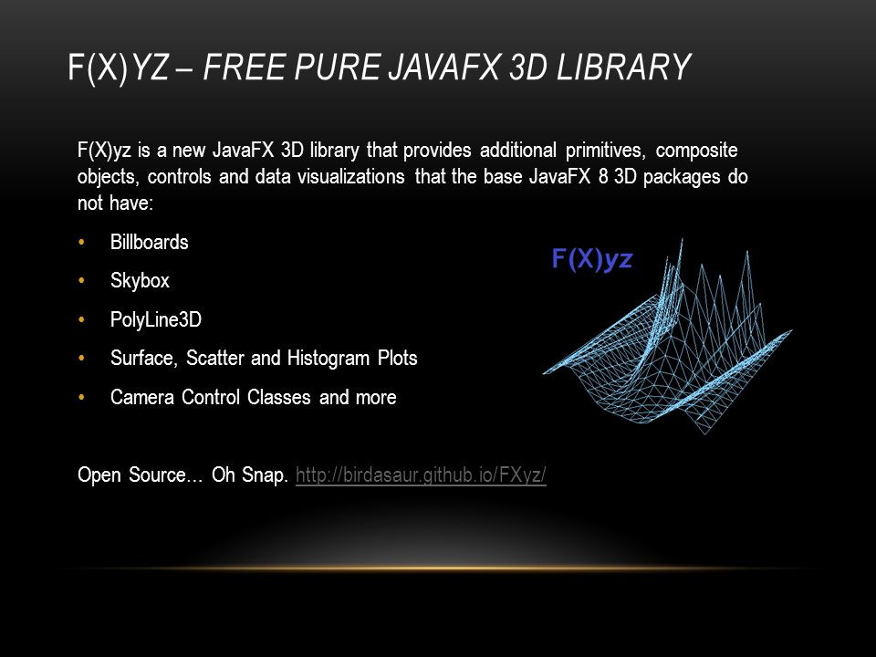 F(X)yz – Free Pure JavaFX 3D Library