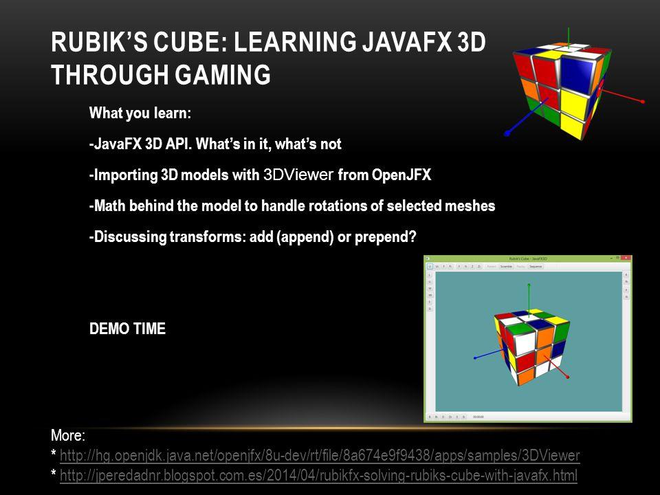 Rubik's Cube: Learning JavaFX 3D through Gaming