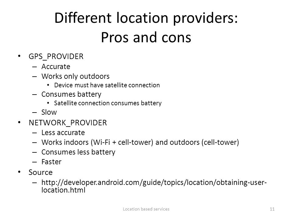 Different location providers: Pros and cons