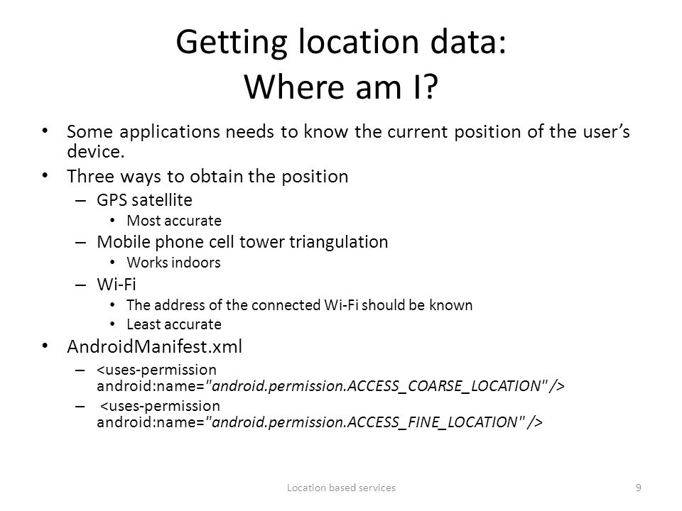 Getting location data: Where am I