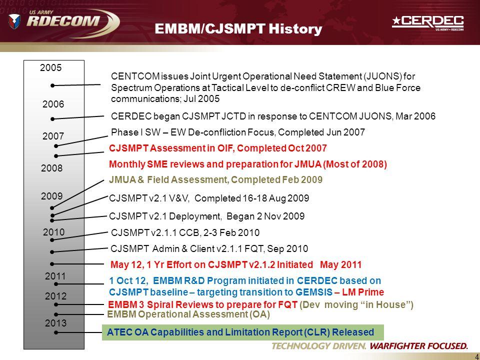 EMBM/CJSMPT History JMUA & Field Assessment, Completed Feb 2009.