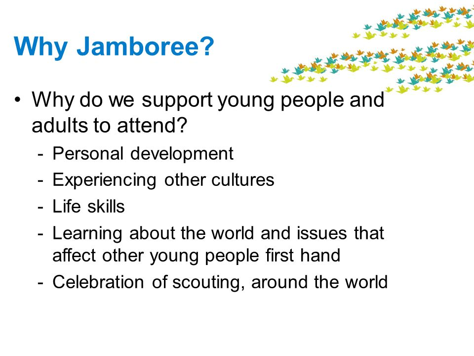 Why Jamboree Why do we support young people and adults to attend