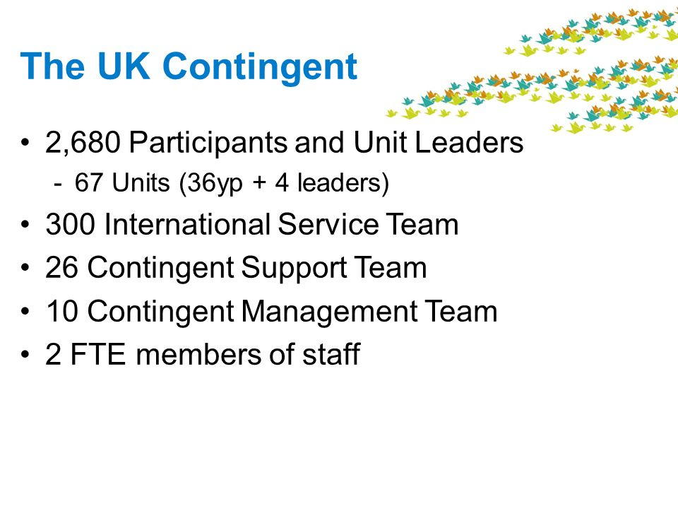The UK Contingent 2,680 Participants and Unit Leaders