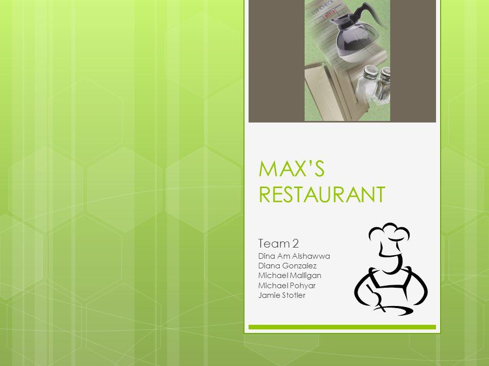 MAX'S RESTAURANT Team 2 Dina Am Alshawwa Diana Gonzalez