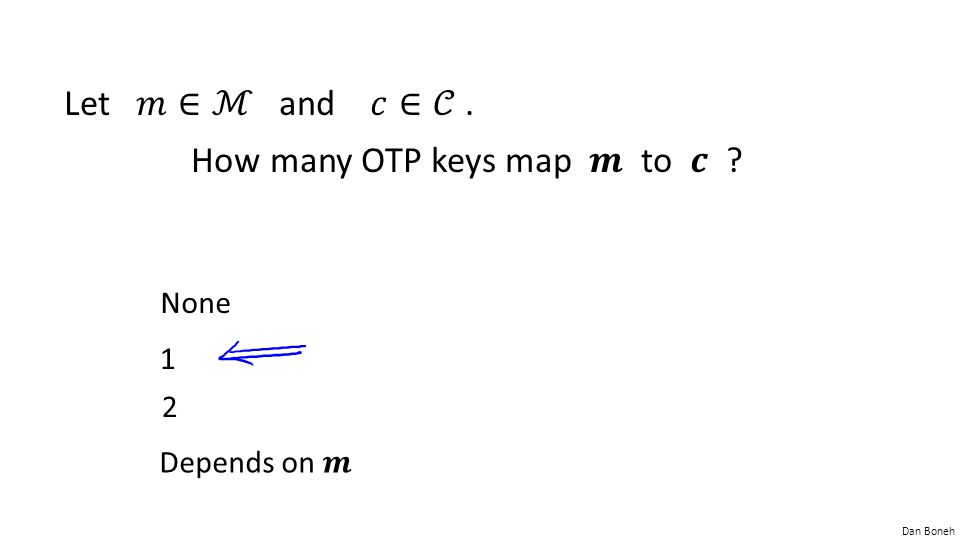 How many OTP keys map 𝒎 to 𝒄