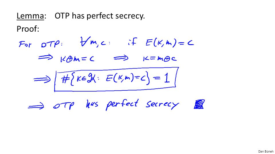 Lemma: OTP has perfect secrecy. Proof: