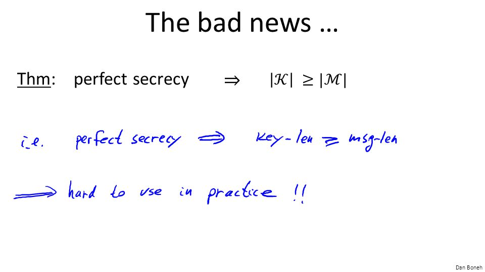 The bad news … Thm: perfect secrecy ⇒ 𝒦 ≥|ℳ|