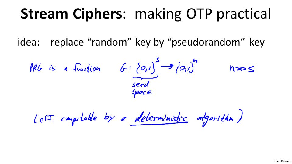 Stream Ciphers: making OTP practical