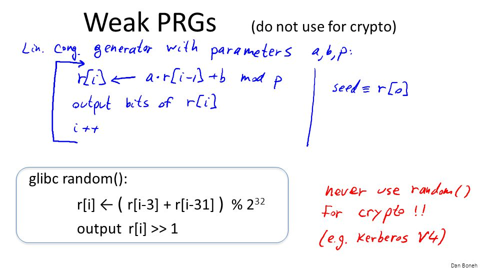 Weak PRGs (do not use for crypto)