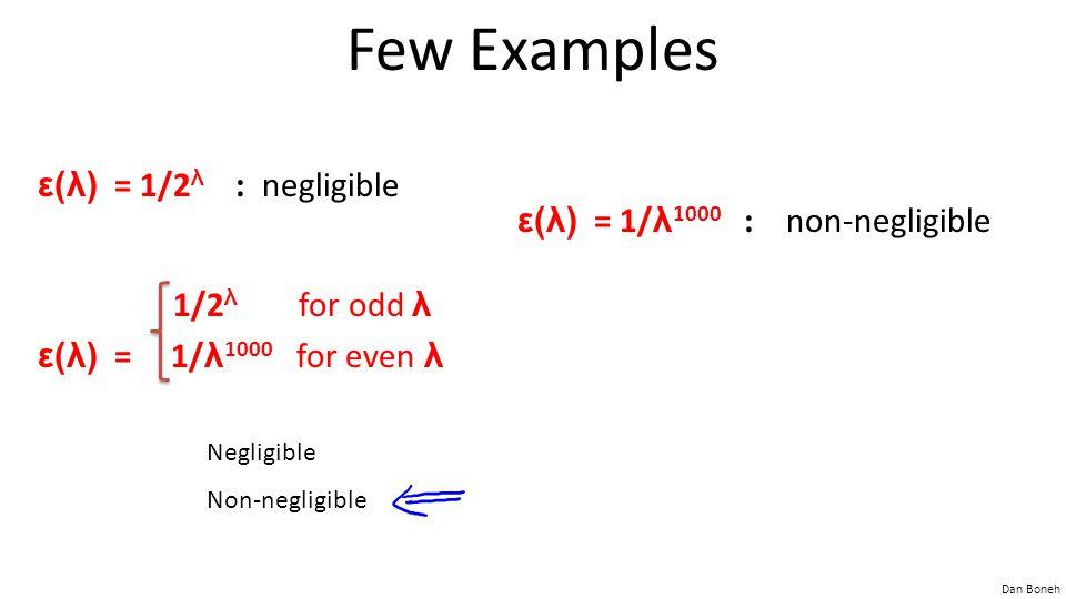 Few Examples ε(λ) = 1/2λ : negligible ε(λ) = 1/λ1000 : non-negligible