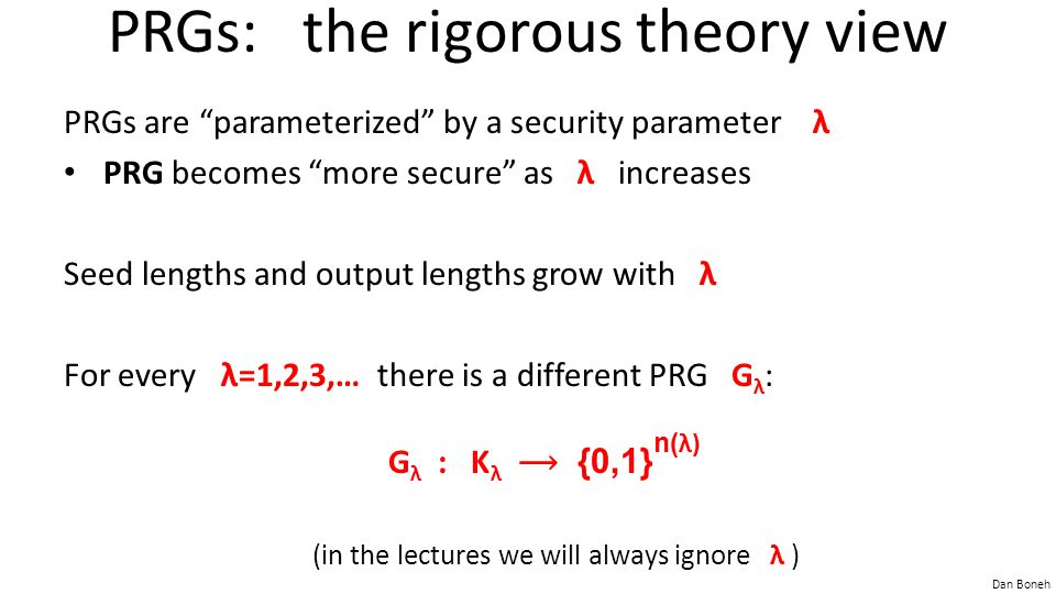 PRGs: the rigorous theory view