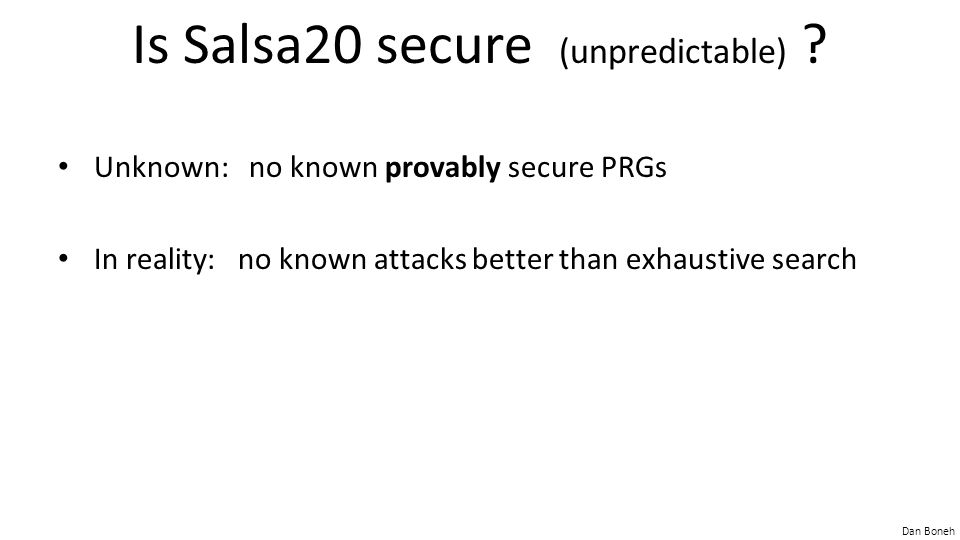 Is Salsa20 secure (unpredictable)
