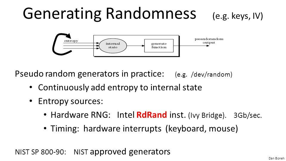Generating Randomness (e.g. keys, IV)