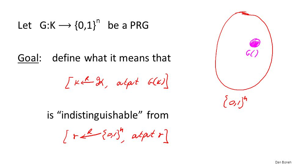 Let G:K ⟶ {0,1}n be a PRG Goal: define what it means that is indistinguishable from