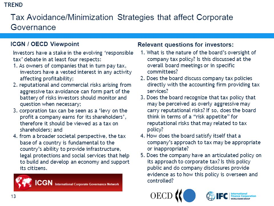 Tax Avoidance/Minimization Strategies that affect Corporate Governance