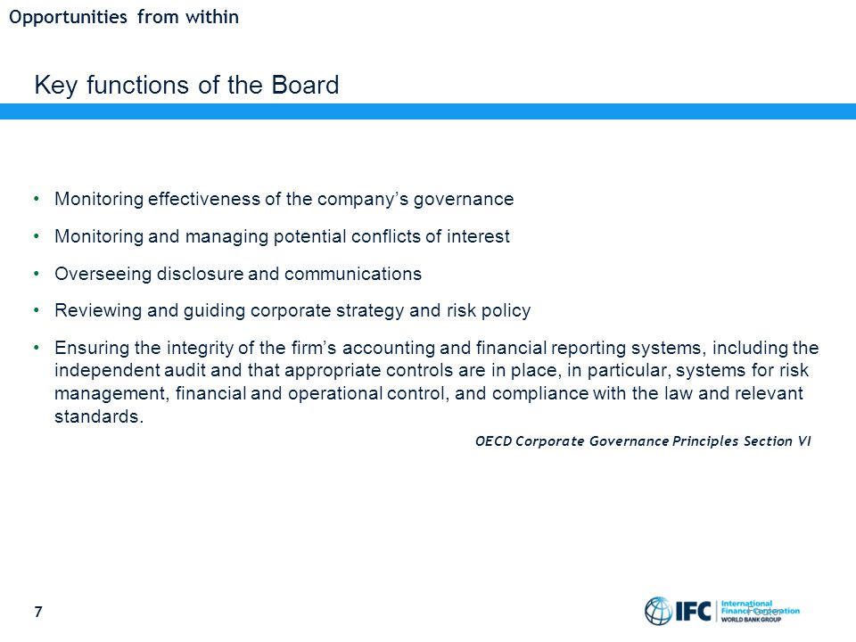 Key functions of the Board