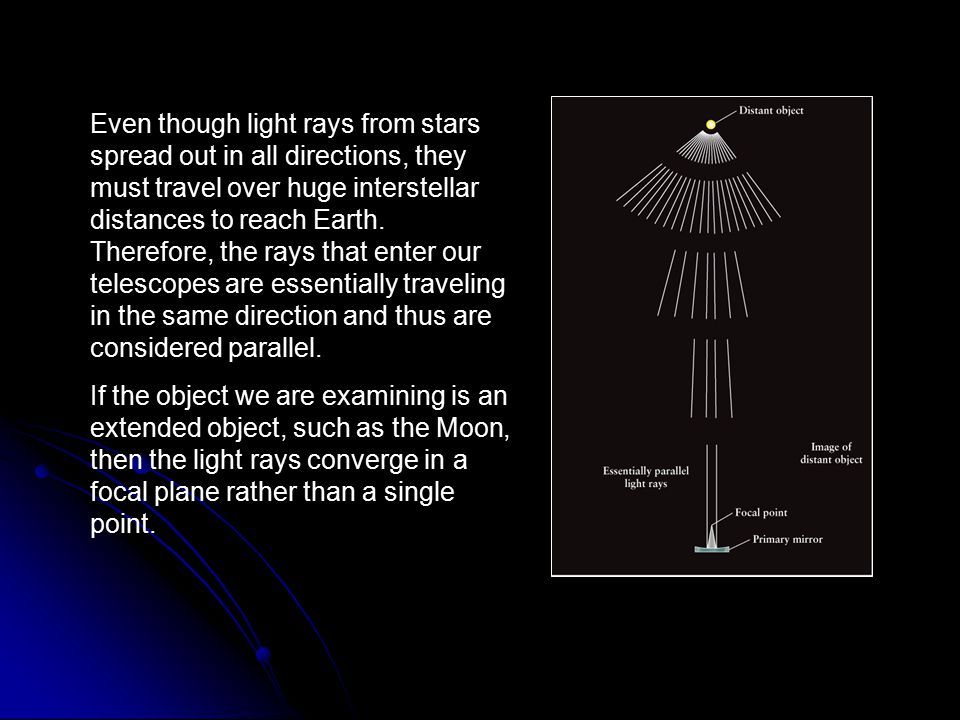 Even though light rays from stars spread out in all directions, they must travel over huge interstellar distances to reach Earth. Therefore, the rays that enter our telescopes are essentially traveling in the same direction and thus are considered parallel.