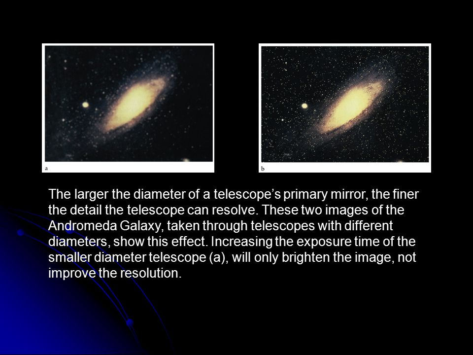 The larger the diameter of a telescope's primary mirror, the finer the detail the telescope can resolve. These two images of the Andromeda Galaxy, taken through telescopes with different diameters, show this effect. Increasing the exposure time of the smaller diameter telescope (a), will only brighten the image, not improve the resolution.