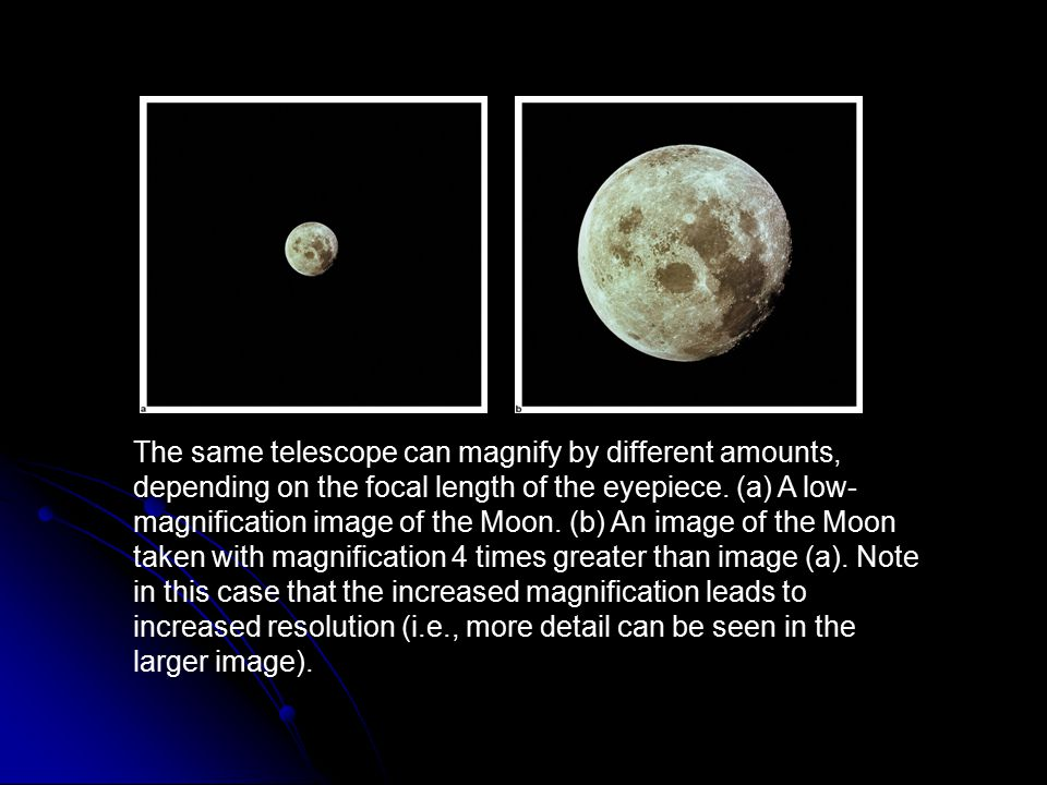 The same telescope can magnify by different amounts, depending on the focal length of the eyepiece. (a) A low-magnification image of the Moon. (b) An image of the Moon taken with magnification 4 times greater than image (a). Note in this case that the increased magnification leads to increased resolution (i.e., more detail can be seen in the larger image).
