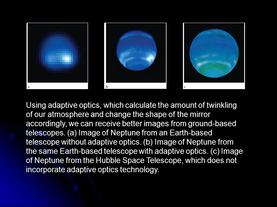 Using adaptive optics, which calculate the amount of twinkling of our atmosphere and change the shape of the mirror accordingly, we can receive better images from ground-based telescopes. (a) Image of Neptune from an Earth-based telescope without adaptive optics. (b) Image of Neptune from the same Earth-based telescope with adaptive optics. (c) Image of Neptune from the Hubble Space Telescope, which does not incorporate adaptive optics technology.
