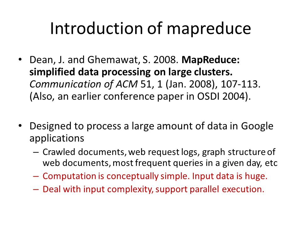 Introduction of mapreduce