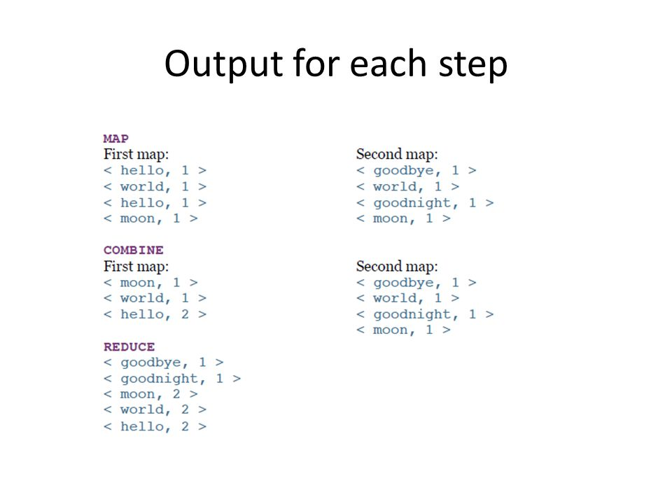 Output for each step
