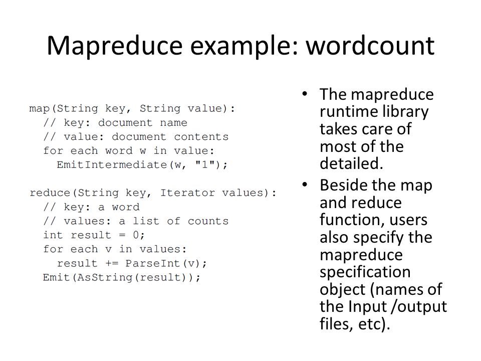Mapreduce example: wordcount