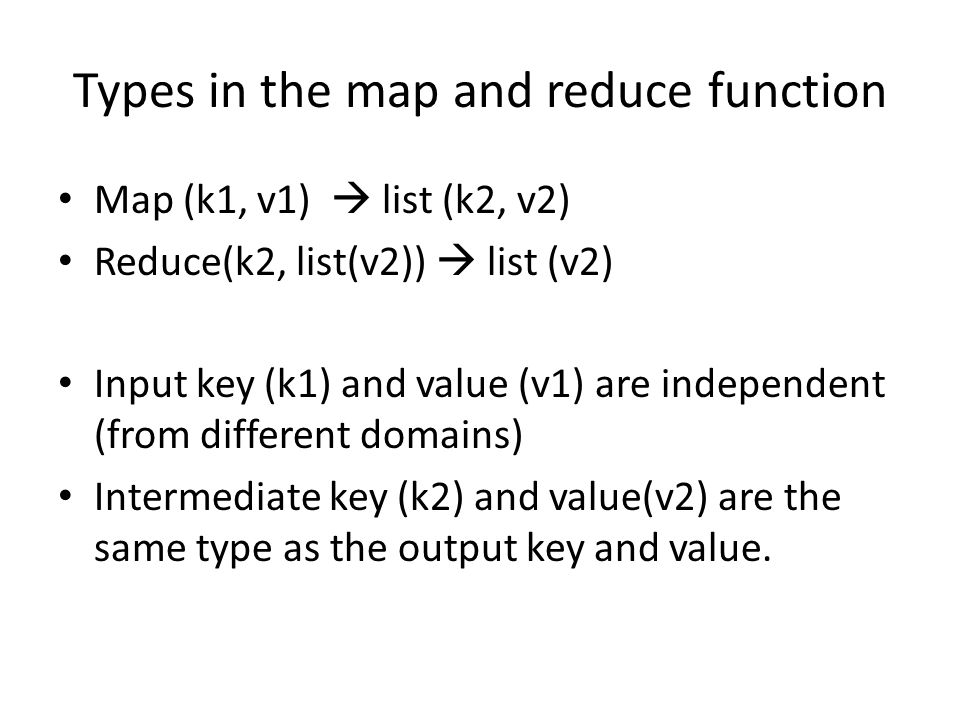 Types in the map and reduce function