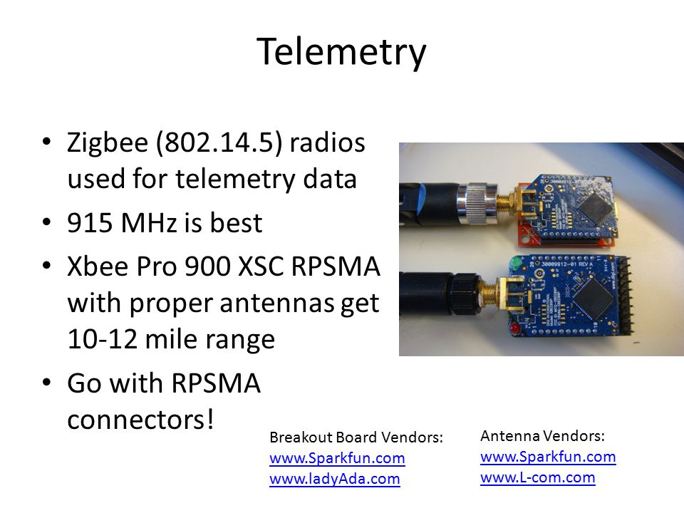 Telemetry Zigbee (802.14.5) radios used for telemetry data