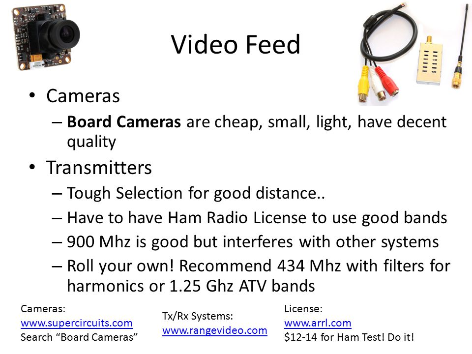 Video Feed Cameras Transmitters