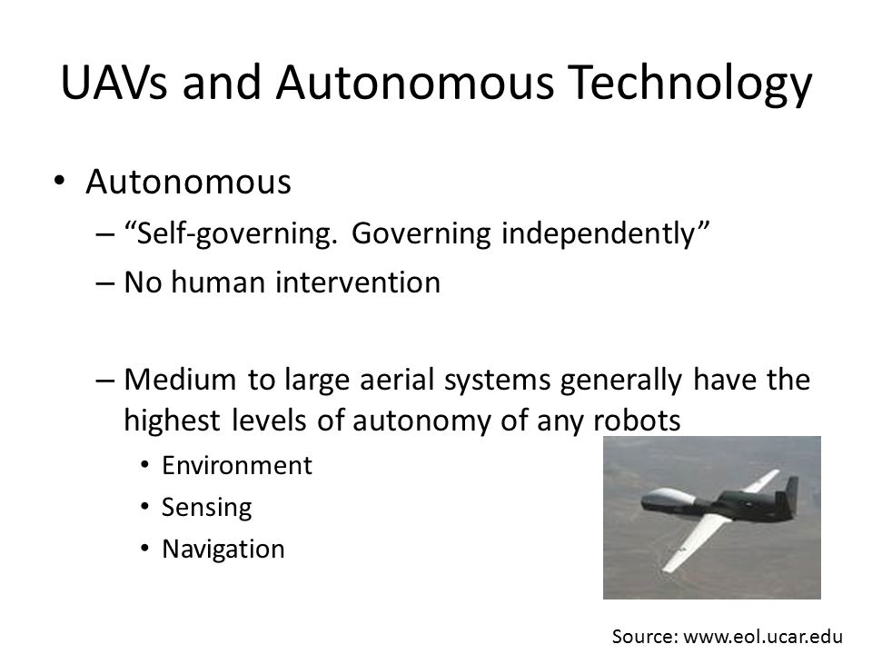 UAVs and Autonomous Technology