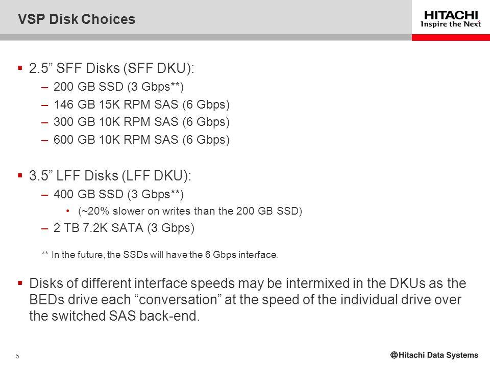 VSP Disk Choices 2.5 SFF Disks (SFF DKU): 3.5 LFF Disks (LFF DKU):