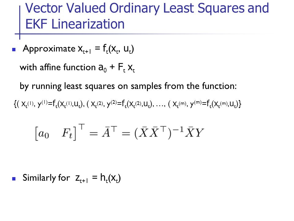 Vector Valued Ordinary Least Squares and EKF Linearization