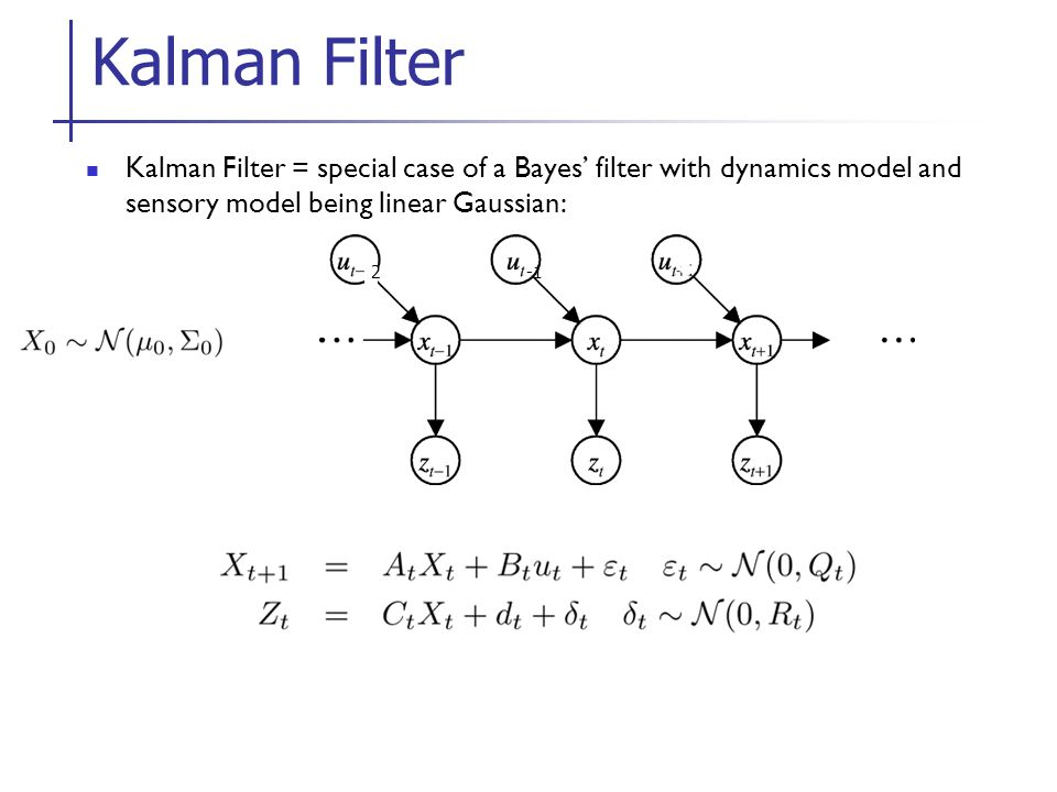 Kalman Filter Kalman Filter = special case of a Bayes' filter with dynamics model and sensory model being linear Gaussian:
