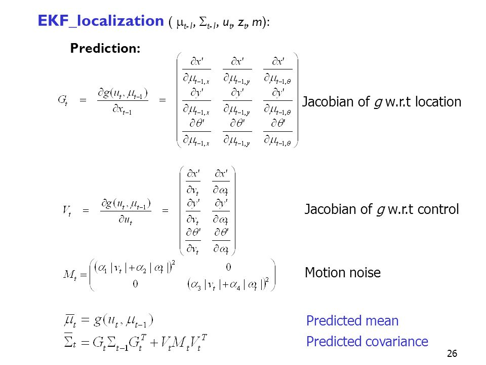 EKF_localization ( mt-1, St-1, ut, zt, m): Prediction: