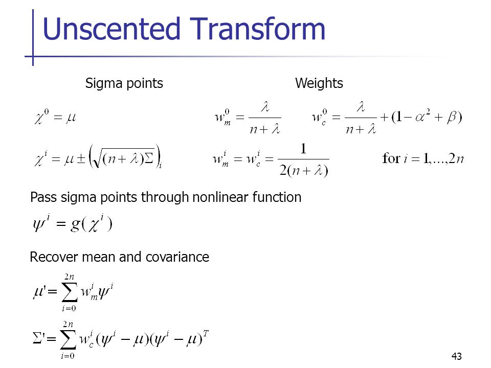 Unscented Transform Sigma points Weights