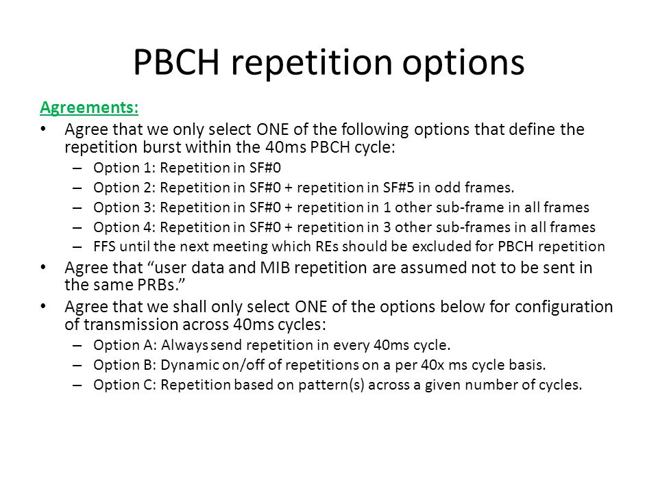 PBCH repetition options