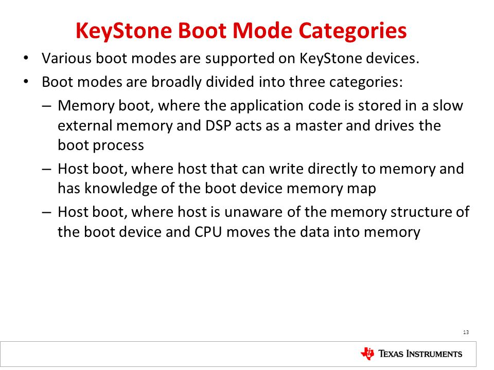 KeyStone Boot Mode Categories