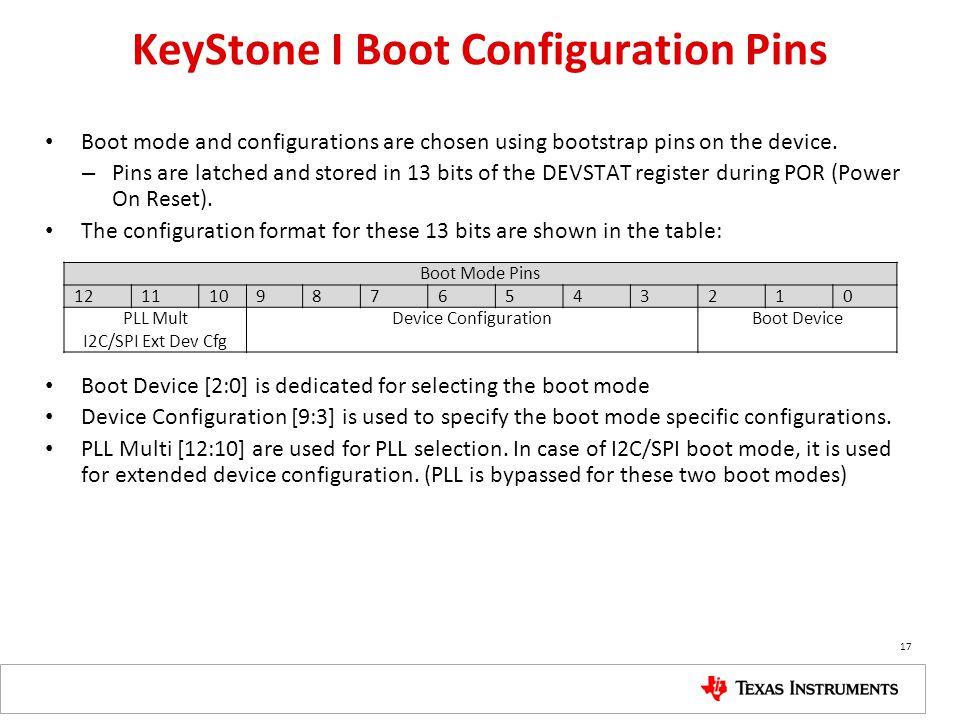 KeyStone I Boot Configuration Pins